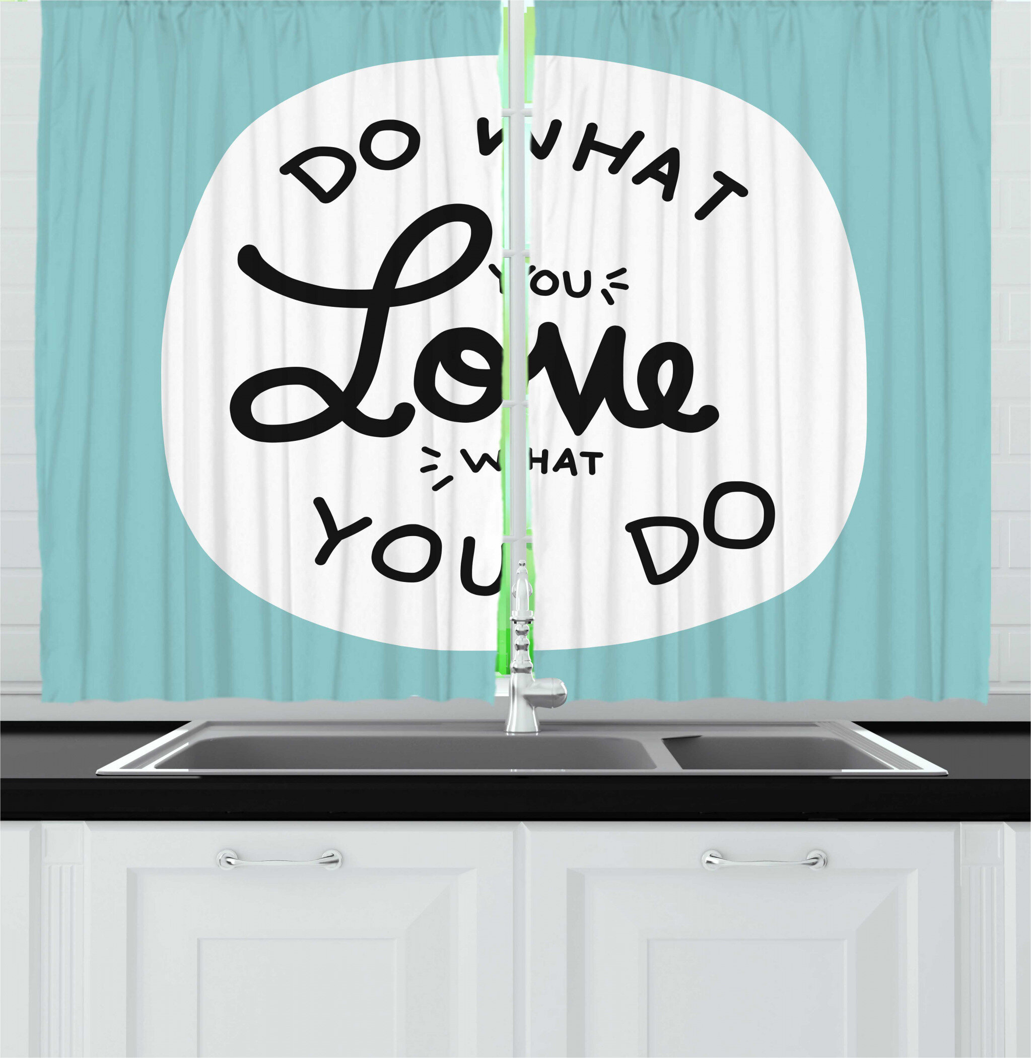 East Urban Home 2 Piece Motivation Do What You Love What You Do Message Positive Vibes Stimulation Theme Kitchen Curtain Set Wayfair