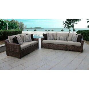 Kathy Ireland Homes Gardens River Brook 5 Piece Outdoor Wicker Patio Furniture Set 05a