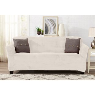 Velvet Plush Form Fit T-Cushion Sofa Slipcover By Symple Stuff