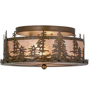 Meyda Tiffany Greenbriar Oak Tall Pines 2-Light Semi-Flush Mount