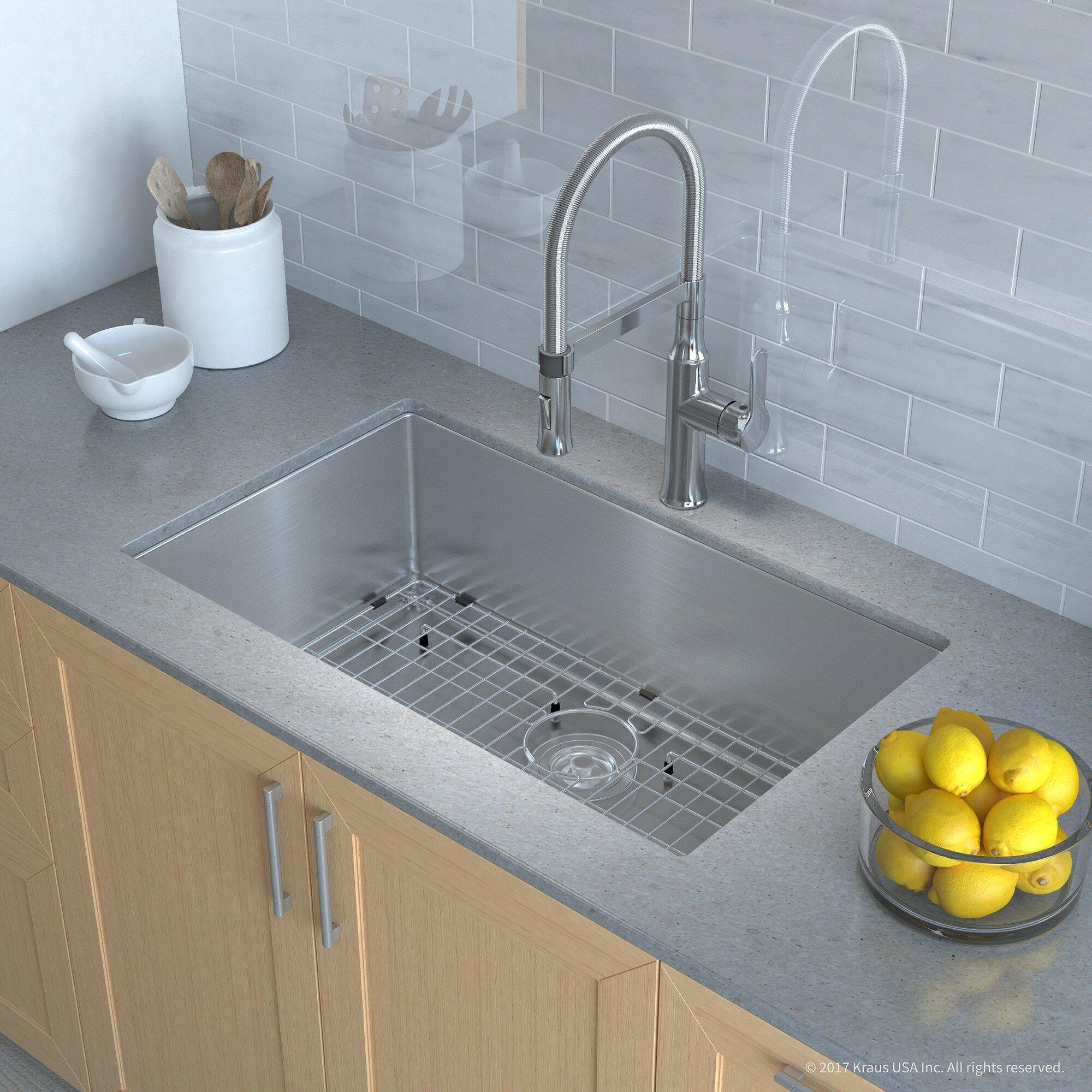 """Kraus Handmade Series 32"""" x 19"""" Undermount Kitchen Sink with Faucet ..."""
