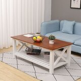 Solid Wood Coffee Table with Storage by Highland Dunes