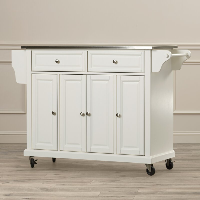 Chan Kitchen Island With Stainless Steel Top