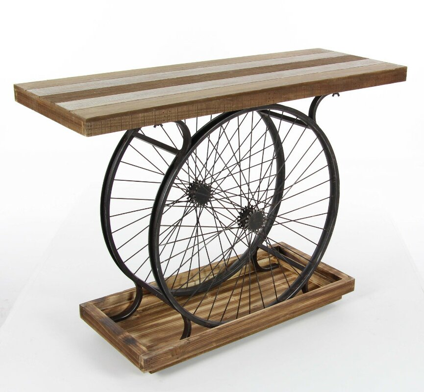 Beautiful Rafael Decorative Metal Wheel Console Table