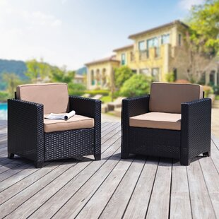 Nimmons Rattan Patio Chairs with Cushions (Set of 2)