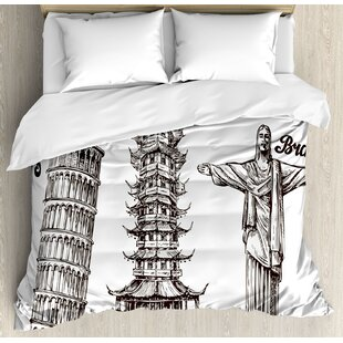 East Urban Home Travel Leaning Tower of Pisa Japanese Temple and Brazil Statue Architecture Culture Print Duvet Set