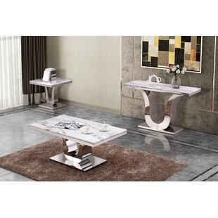 Everly Quinn Mald Marble 3 Piece Coffee Table Set