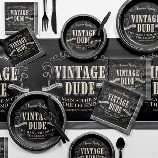 Vintage Dude Party Supplies Kit