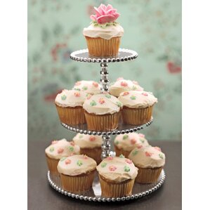 string of pearls 3 tiered cupcake serving tray