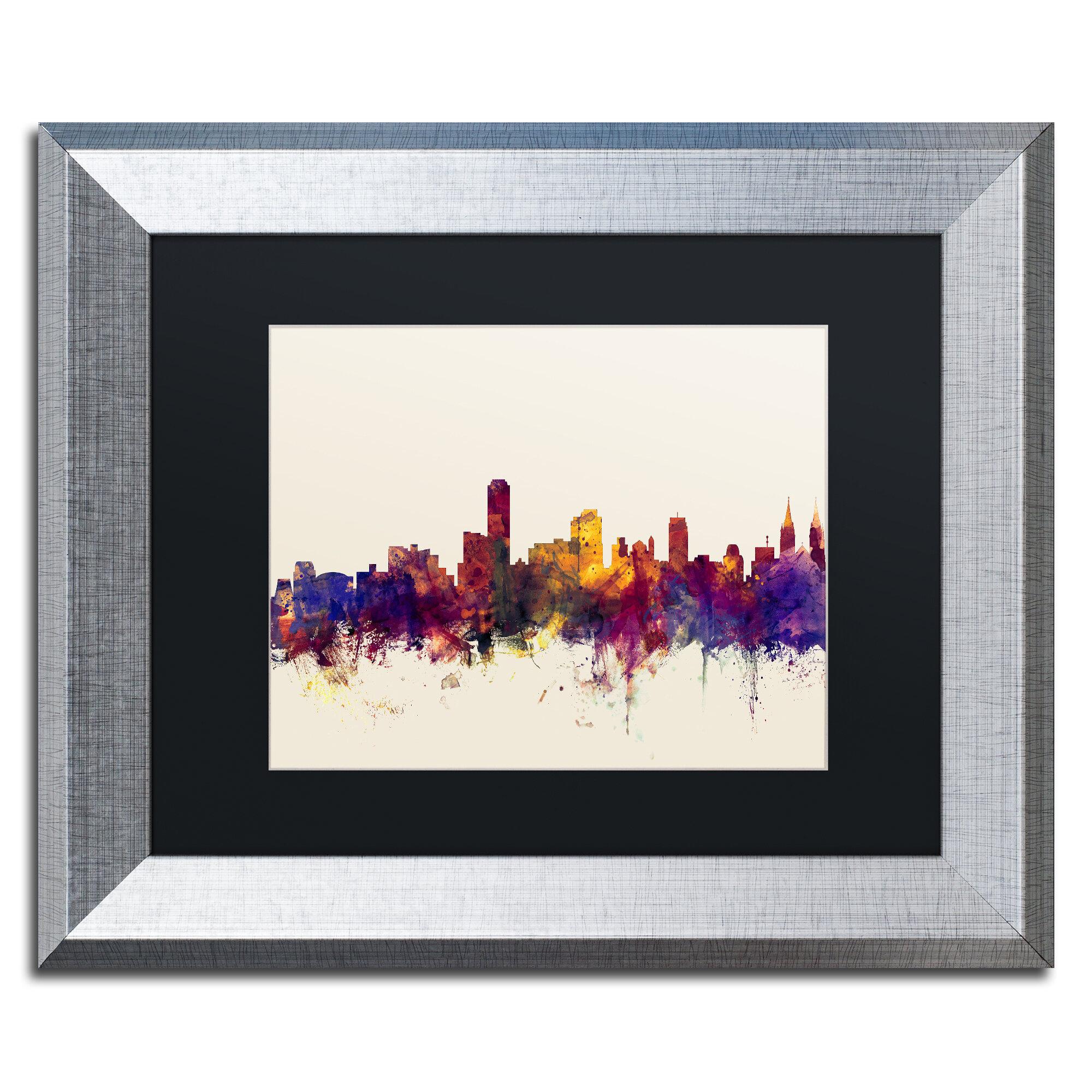 Trademark Art Adelaide Au Skyline By Michael Tompsett Framed Graphic Art On Canvas Wayfair