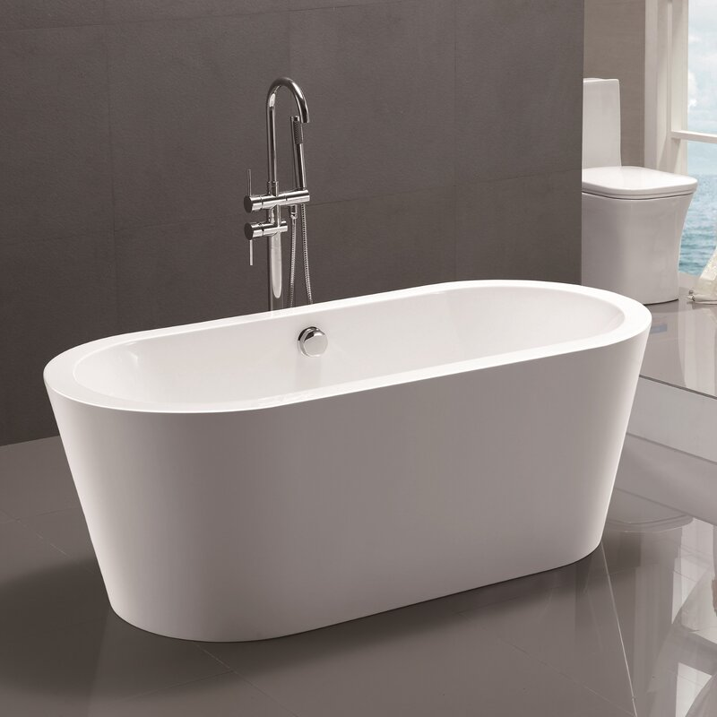 Vanity art 59 x 29 5 freestanding soaking bathtub for Free standing tubs for sale