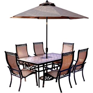 bucci 7 piece dining set with table umbrella and umbrella stand - Patio Table With Umbrella