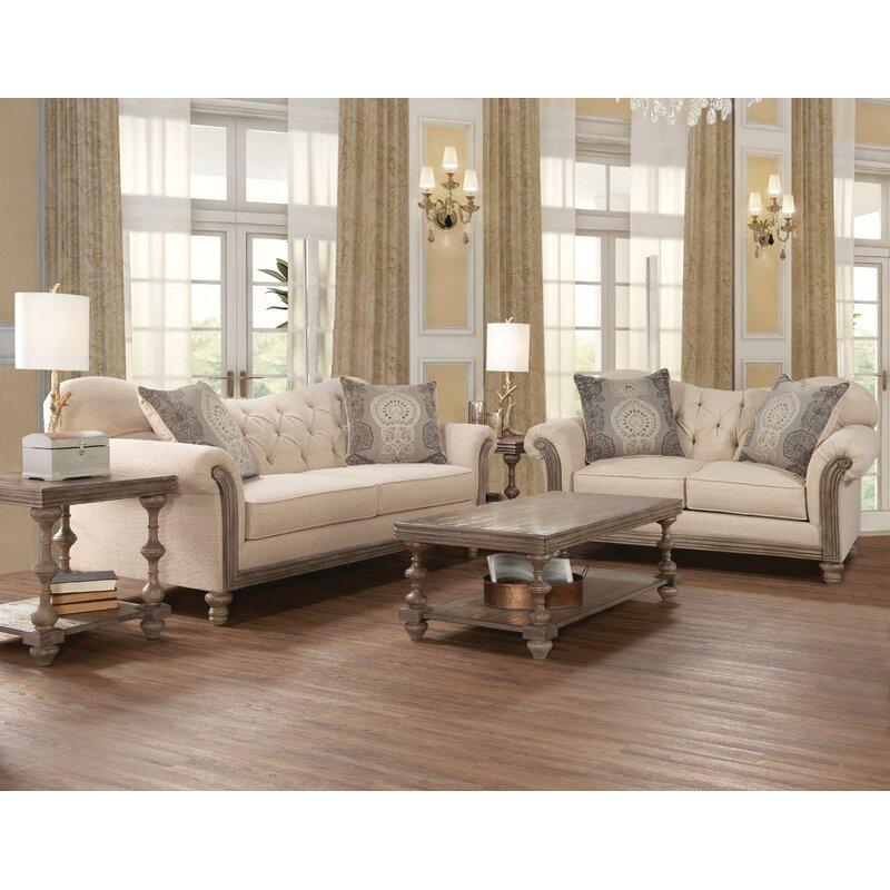 Ophelia & Co. Larrick Fabric Tufted Leather Living Room Set | Wayfair