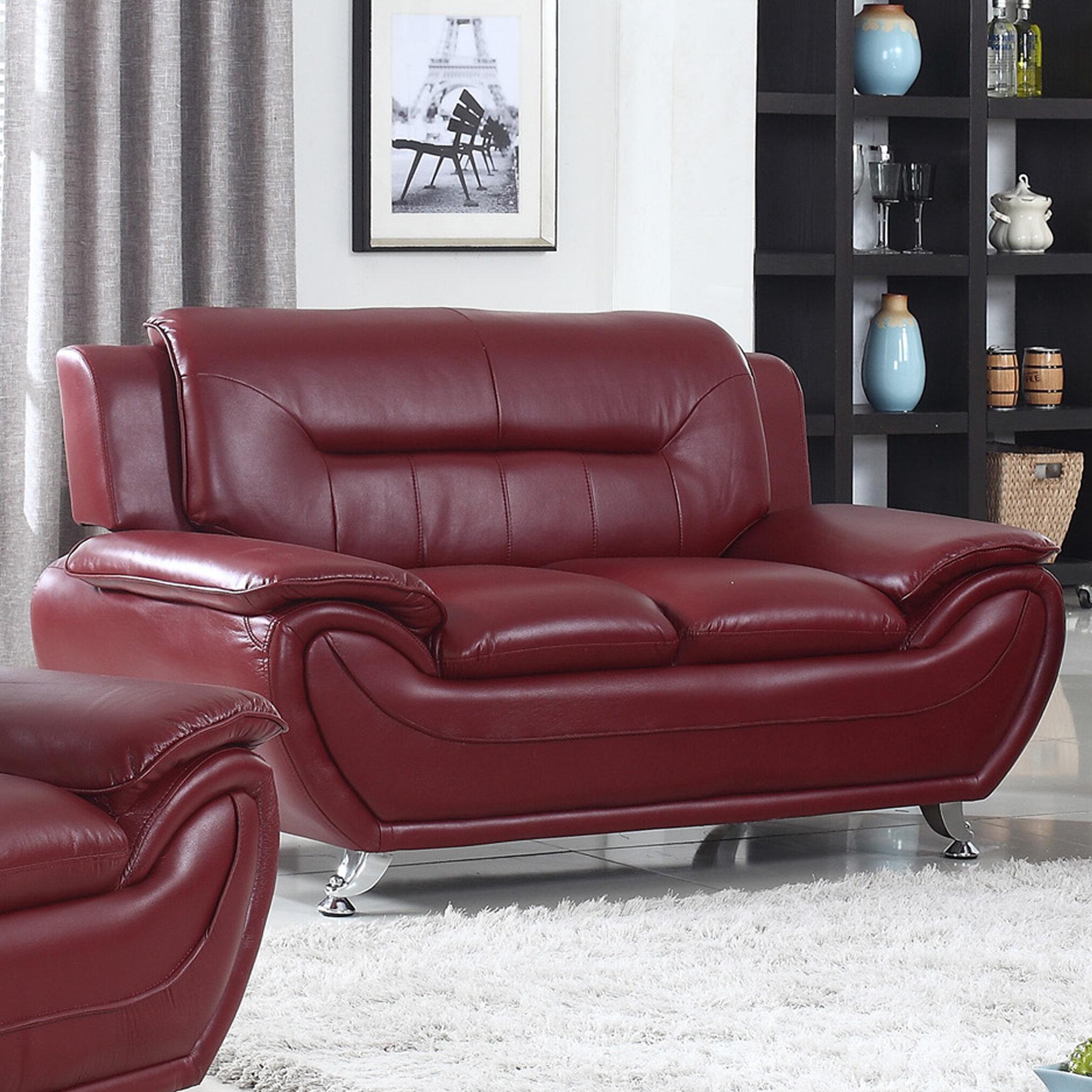 Ebern Designs Brose 62 Wide Faux Leather Pillow Top Arm Loveseat Reviews Wayfair