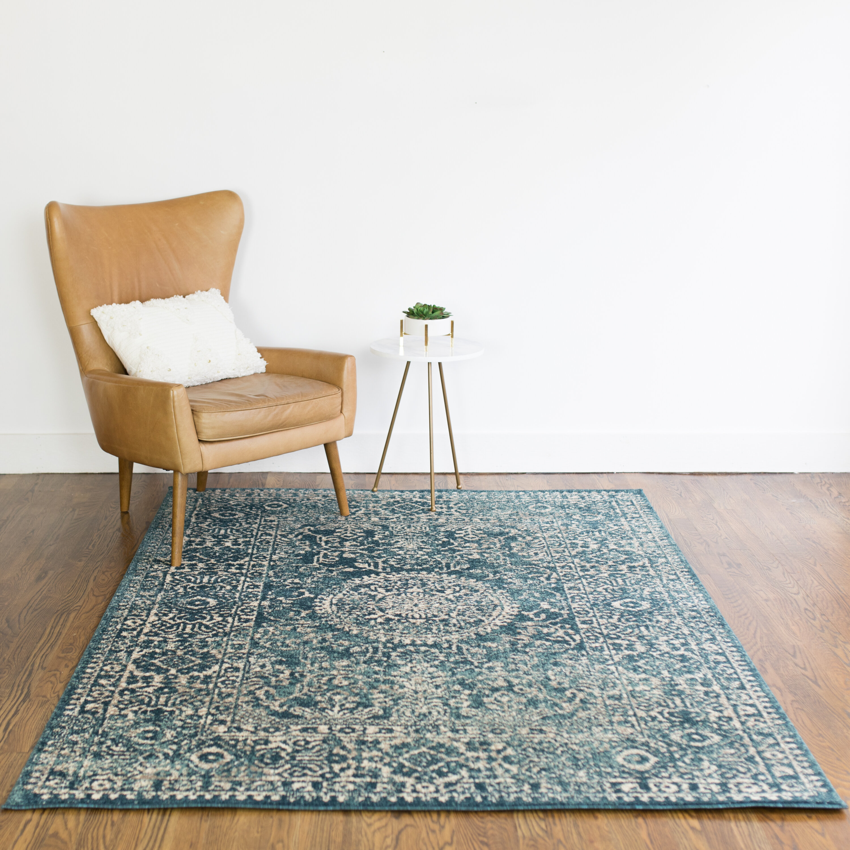 Charlton Home Baird Oriental Teal Area Rug Reviews Wayfair