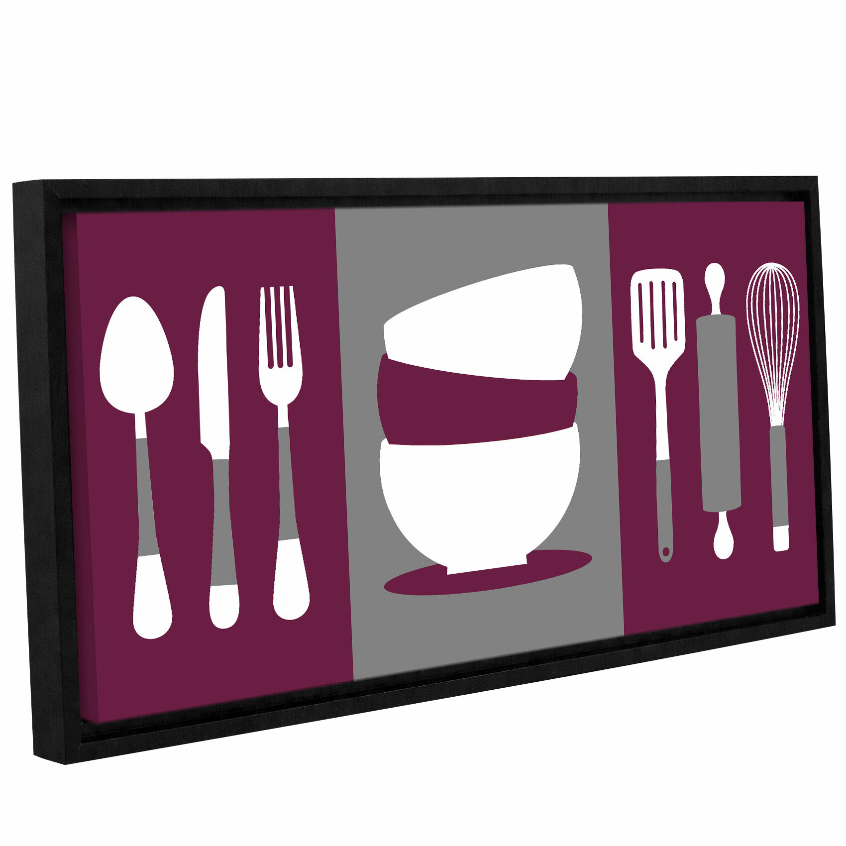 \'Kitchen Utensils\' Framed Graphic Art on Wrapped Canvas