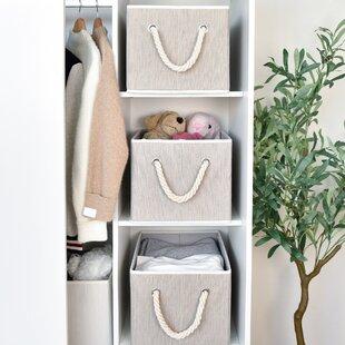 Bamboo Style Storage Fabric Box Set (Set of 3)