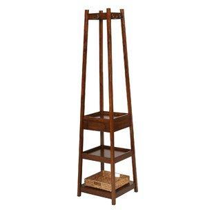 Eberhardt 3 Tier Solid Wood Coat Rack with 1 Drawer and 1 Basket
