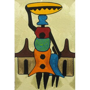 Handcrafted African Threadwork Of Village Scene By Ernestina Oppong Asante Wall  Art