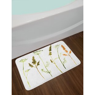 Wild Vermilion Dark Green Watercolor Bath Rug