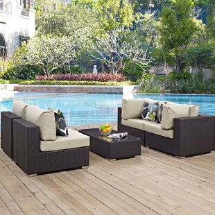 Latitude Run Ryele 5 Piece Rattan Sectional Set with Cushions