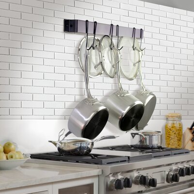 """Utensil Bar Wall Mounted Pot Rack with Hook Rack It Up! Size: 2"""" H x 24"""" W x 1.5"""" D, Finish: Bordeaux"""
