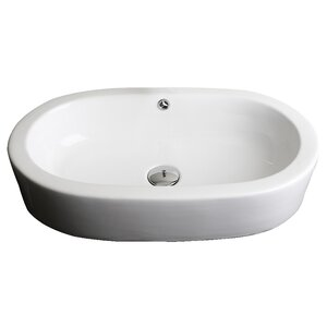 Ceramic Oval Vessel Bathroom Sink with Overflow