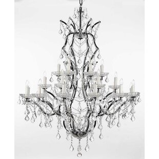 Alvan 25-Light Traditional Black Candle Style Chandelier by Astoria Grand