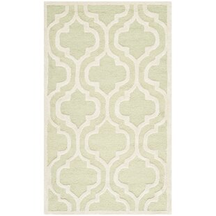 Martins Hand-Tufted Wool Light Green/Ivory Area Rug byWrought Studio