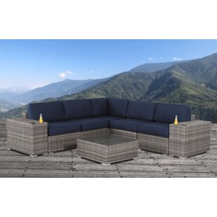 Feaster Resort Grade Cup Holder 8 Piece Rattan Sunbrella Sectional Seating Group