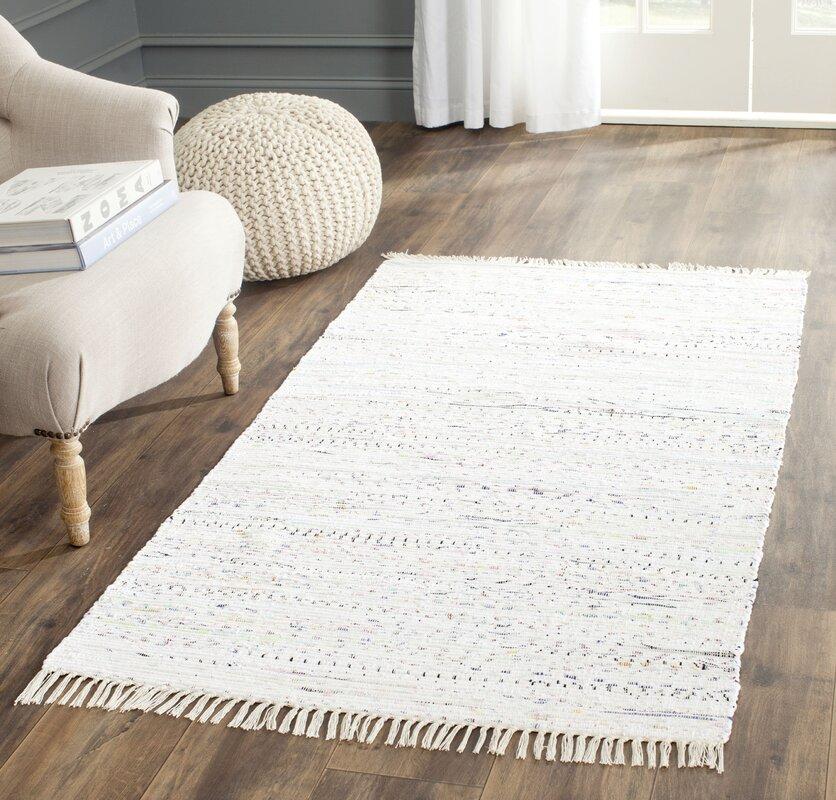 Penrock Way Handwoven Cotton White Area Rug