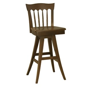 Ines 30.5 Swivel Wood Bar Stool Red Barrel Studio