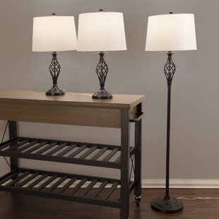 Lavish Home Spiral Cage 3 Piece Table and Floor Lamp Set
