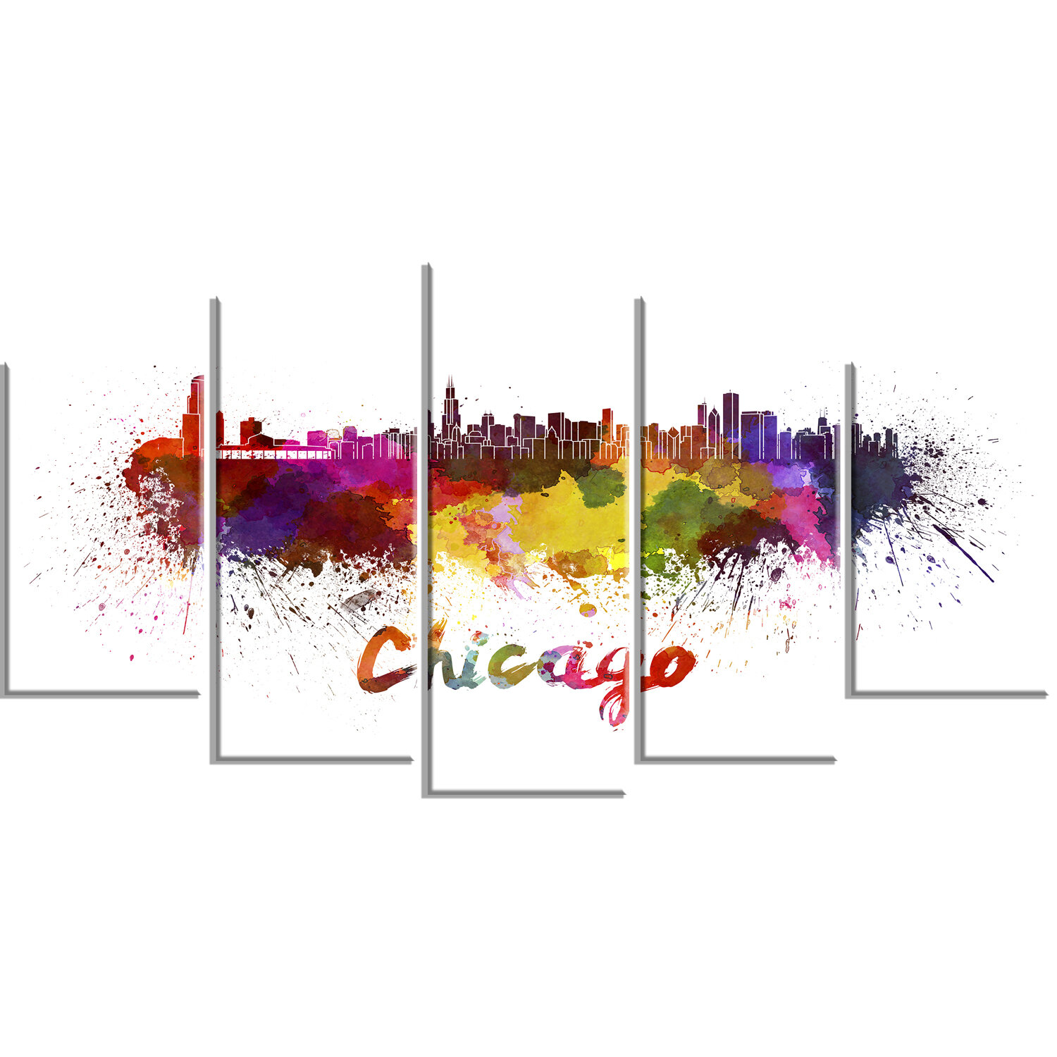 Designart Chicago Skyline 5 Piece Graphic Art On Wrapped Canvas Set Wayfair