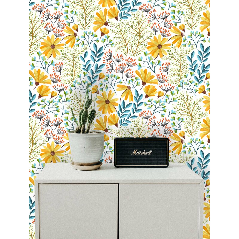 Bungalow Rose Manley Removable Boho Spring Flowers 6 25 L X 25 W Peel And Stick Wallpaper Roll Wayfair