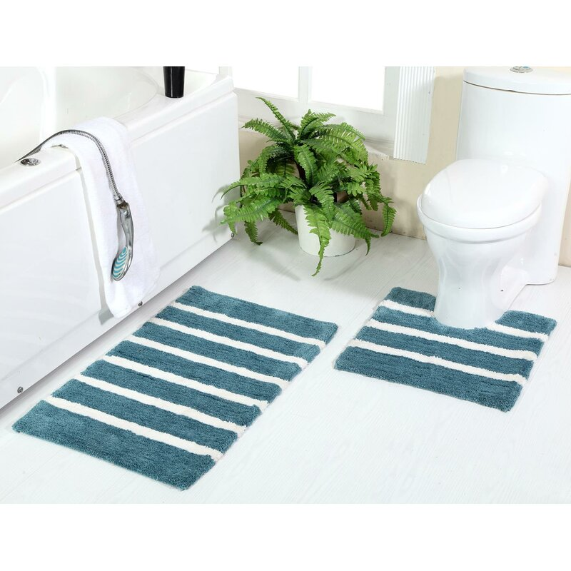 Ivy Bronx Encinas Plush Bold Stripes Rectangle Non Slip Striped 2 Piece Bath Rug Set Reviews Wayfair