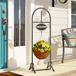 Lowestoft Outdoor Decorative Welcome Sign With Hanging Basket Planter Stand