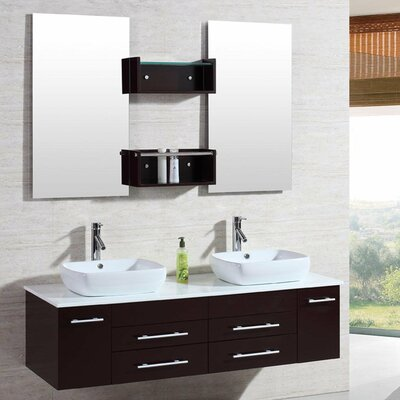 "Bathroom Vanity Sets kokols 60"" double floating bathroom vanity set with mirror"