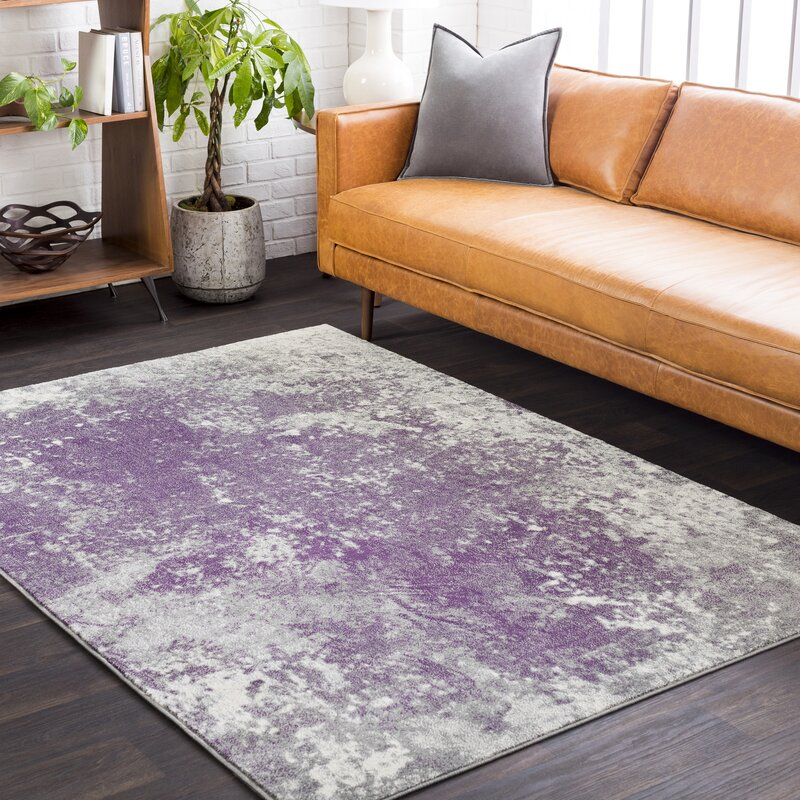 High Quality Candelaria Abstract Medium Gray/Dark Purple Area Rug