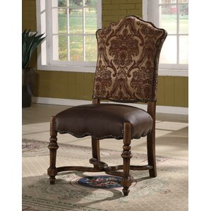 Burgundy Genuine Leather Upholstered Dining Chair by Eastern Legends