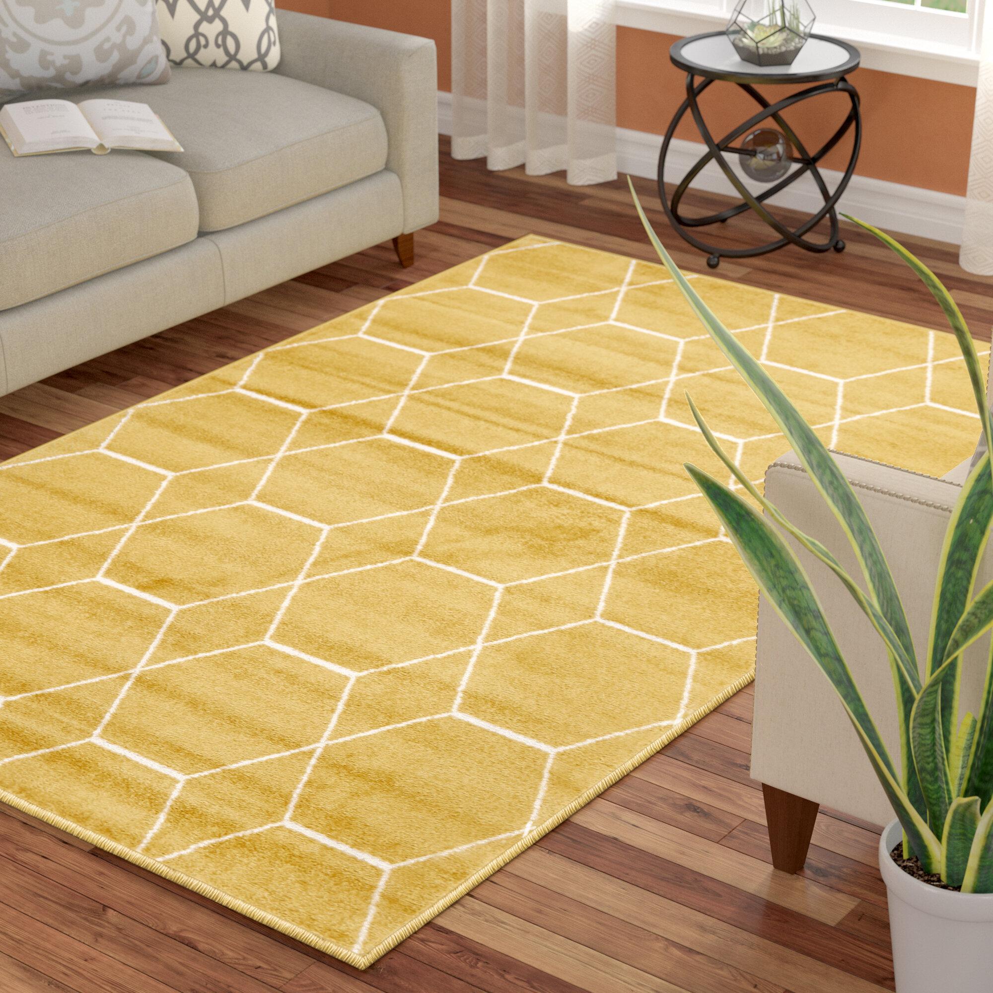 Mercury Row Elborough Geometric Yellow Rug Reviews Wayfair