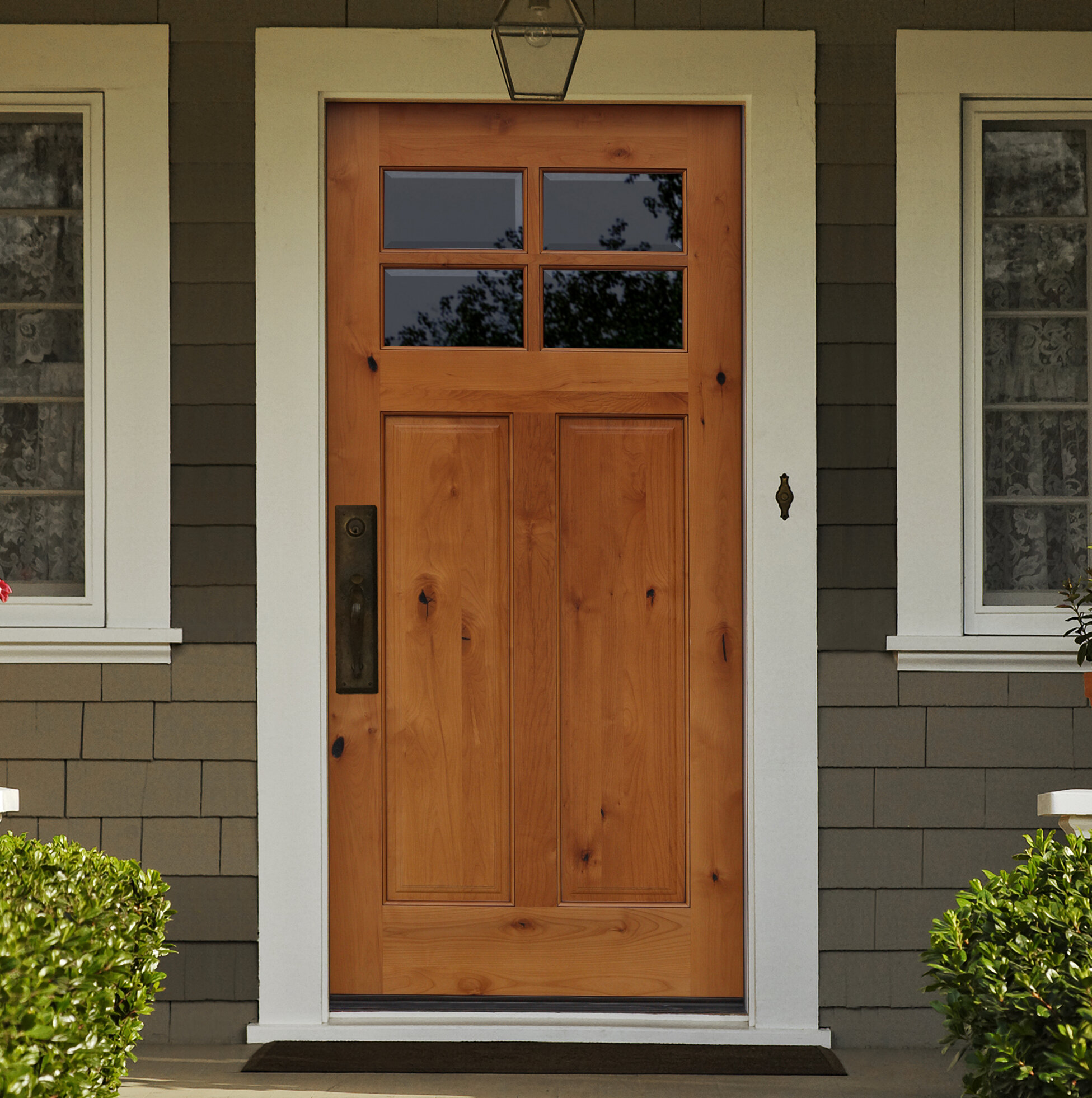 Wayfair Creative Entryways Shaker Craftsman 4 Lite Beveled Ready To Install Wood Prehung Front Entry Door