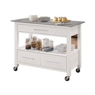 Guillot Kitchen Cart with Stainless Steel Top Ebern Designs