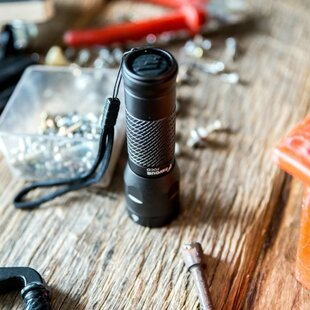 Torch Foco Black Battery Powered LED Outdoor Flashlight By Freeport Park