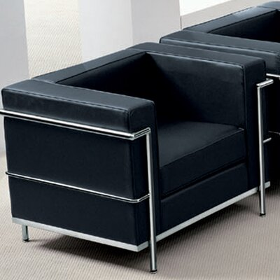 Comm Office Demars Contemporary Mid-back Lounge Chair With Encasing Frame Guest Chair Seat Color: Black