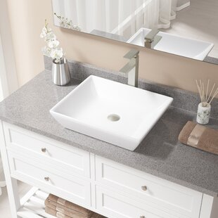 Buy clear Vitreous China Rectangular Vessel Bathroom Sink with Faucet ByMR Direct