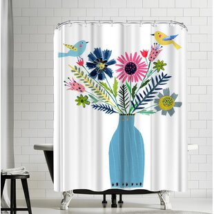 Liz and Kate Pope Tall Vase Flowers and Birds Shower Curtain