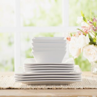 Wayfair Basics 12 Piece Square Dinnerware Set Service for 4 & Square Dinnerware Sets Youu0027ll Love | Wayfair