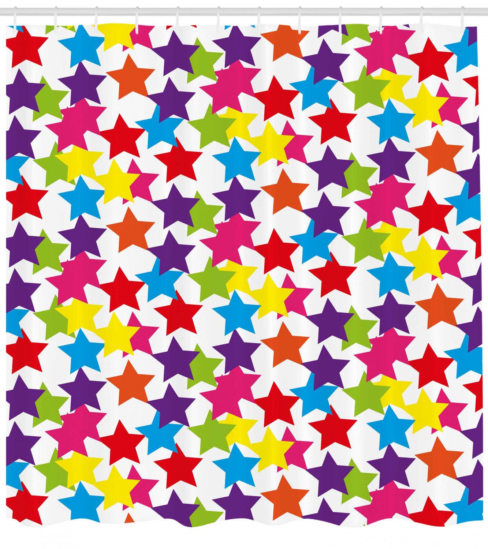 Ambesonne Modern Shower Curtain Little Rainbow Coloured Funky Stars Kids Nursery Boys Girls Theme Print Cloth Fabric Bathroom Decor Set With Hooks