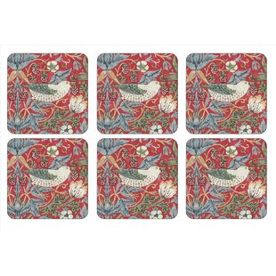 William Morris Strawberry Thief Coaster Set Of 6